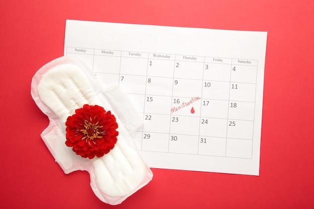빨간색 배경에 패드가 있는 월경 달력입니다. 여성의 중요한 날, 여성 위생 보호. 생리통
