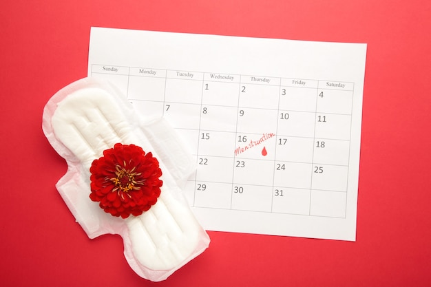 Menstruation calendar with pads on red background. woman critical days, woman hygiene protection. menstrual pain