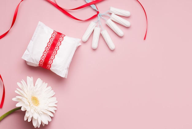 Menstruation concept. panty liners and tampons..