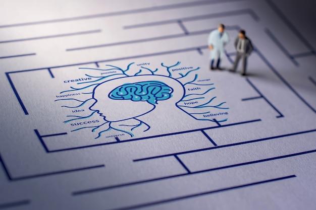 メンタルヘルスの概念。セラピストまたは人が精神疾患を治すための挑戦。心理的な複雑さ、感情、記憶、知覚、そして人間の願い。迷路のミニチュア