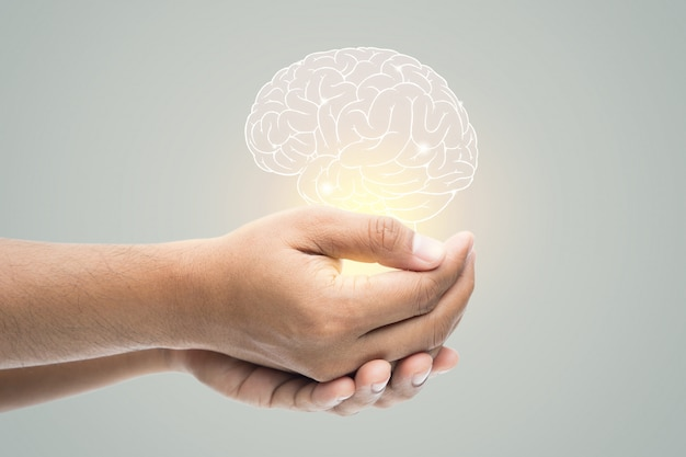 メンタルヘルスデー。灰色の壁に脳図を抱きかかえた
