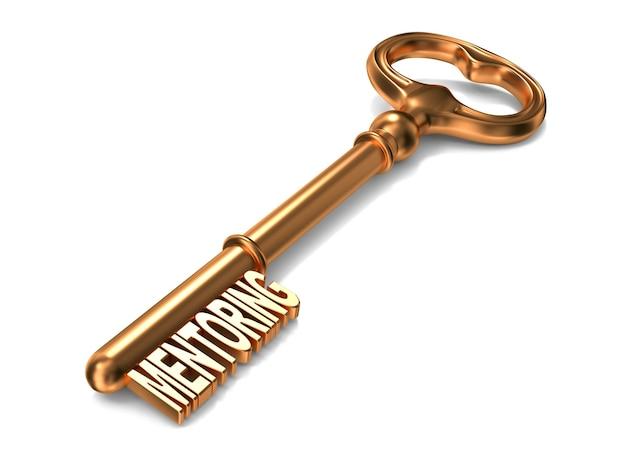 흰색 바탕에 황금 열쇠에 멘토링 텍스트