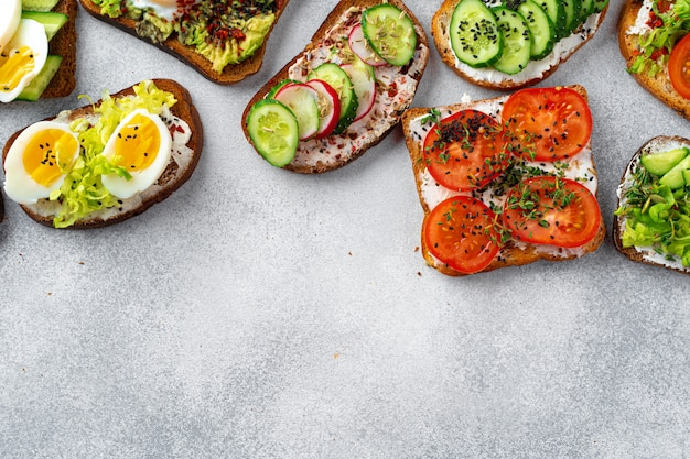다양 한 다른 채식주의 샌드위치 메뉴 배경