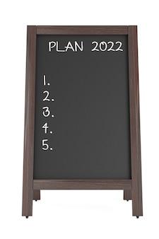 Доска мелом меню с планом фраз 2022 на белом фоне. 3d рендеринг