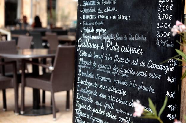 Ресторан в париже с меню
