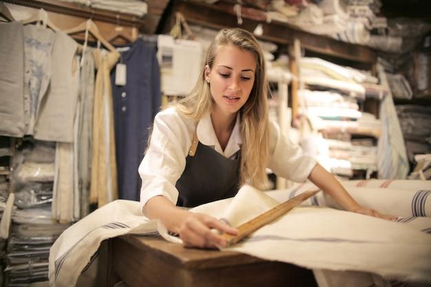 Merchandiser in a fabric shop