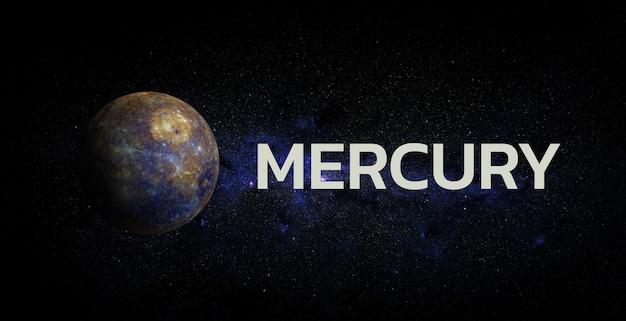 Меркурий на космическом фоне. элементы этого изображения предоставлены наса.