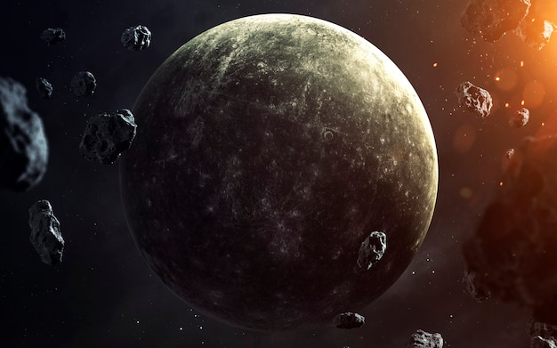 Mercury. planets of solar system visualisation. elements of this image furnished by nasa