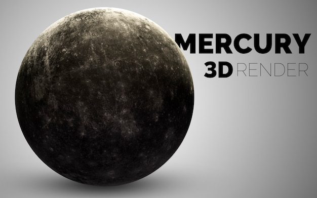 Меркурий. набор планет солнечной системы в 3d. элементы этого изображения, предоставленные наса