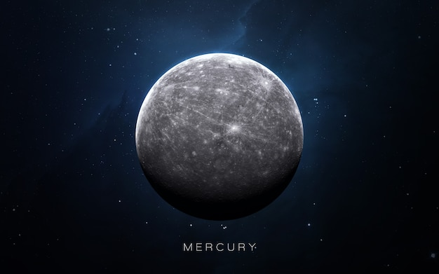 Mercury in the space, 3d illustration. .