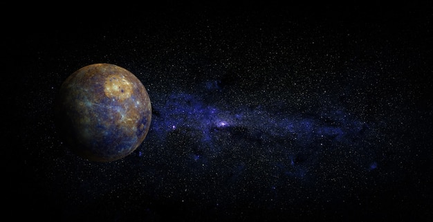 Mercury on space background. elements of this image furnished