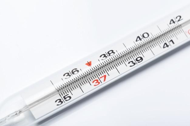 Mercury thermometer, isolated on white background