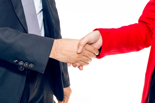 Merger and acquisition. manager businessman handshake with woman staff