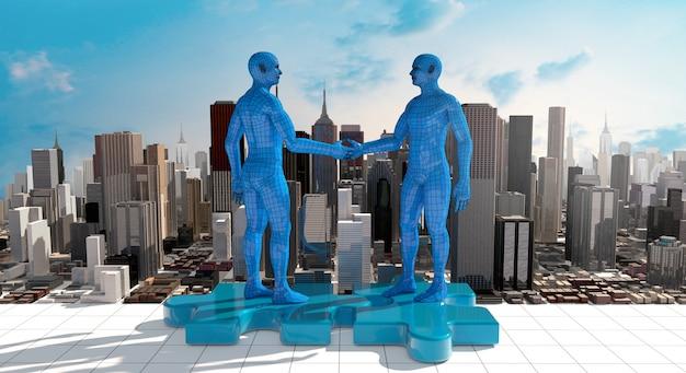 Бизнес-концепция слияния и поглощения, присоединение к компании 3d-рендеринга