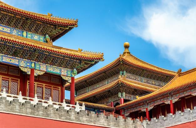 Меридианные ворота дворца-музея или запретный город в пекине, китай