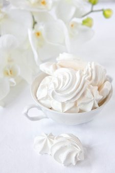 Meringues. protein sugar cake for tea or coffee.
