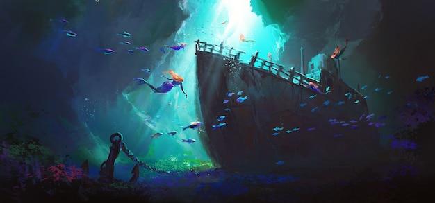 Русалка окружает затонувший корабль на дне морской иллюстрации.