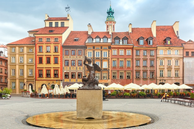 Mermaid of warsaw at the market square, poland.