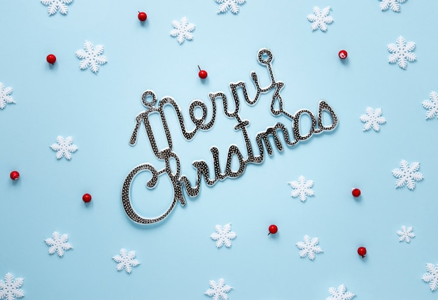 Merry chistmas sign with snowflakes
