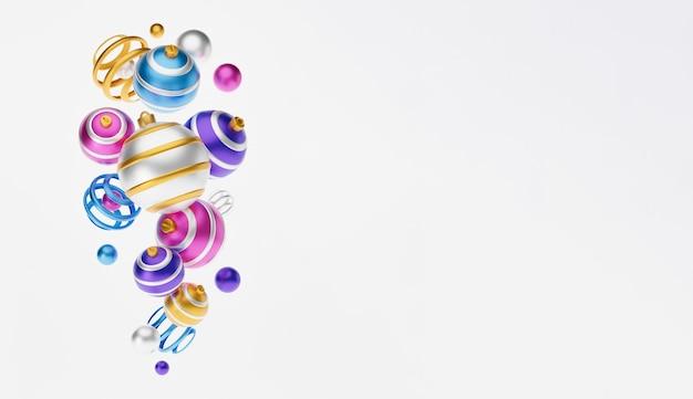 メリークリスマス3dグリーティングカードまたはイラストバナー。メリークリスマスと新年あけましておめでとうございます3dは、華やかなピンク、青、黄色のクリスマスボールでイラストカードをレンダリングします。冬の装飾クリスマスミニマルデザイン