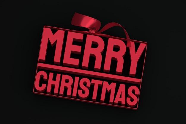 블랙에 활과 리본 메리 크리스마스 3d 태그 디자인