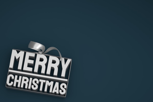 어둠에 활과 리본 메리 크리스마스 3d 태그 디자인