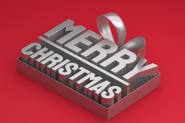레드에 활과 리본 메리 크리스마스 3d 태그 디자인