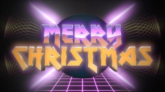 メリークリスマスとレトロなディスコボール、レトロな背景を持つ抽象的なグリッド。クラブとエンターテインメントの3dイラストのためのエレガントで豪華なダイナミックスタイル