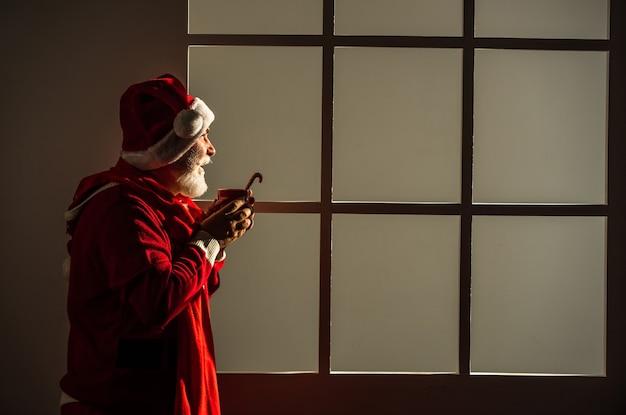 즐거운 성탄절과 즐거운 휴일 보내세요. 새해가 오고 있습니다. 행복과 기쁨. 크리스마스 파티를 위한 준비. 겨울 휴가를 축하합니다. 재미있는 남자는 산타클로스 코트와 모자를 쓴다. 쇼핑.