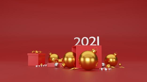 메리 크리스마스와 새 해 복 많이 받으세요 배경 축제 장식 및 복사 공간. 3d 일러스트레이션