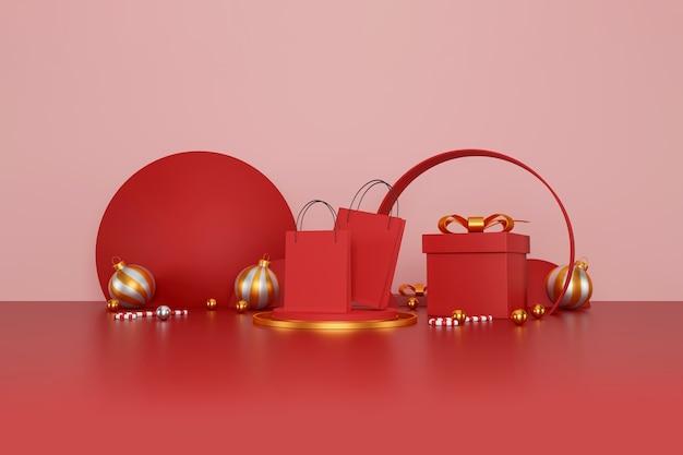 С рождеством и новым годом баннер красная сумка для покупок на красном фоне
