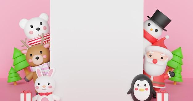 Веселого рождества и счастливого нового года, рождественские праздники с дедом морозом и друзьями с пространством для текста. 3d-рендеринг.