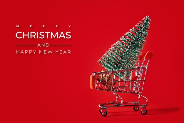 С рождеством и новым годом композиция с елкой на красном фоне