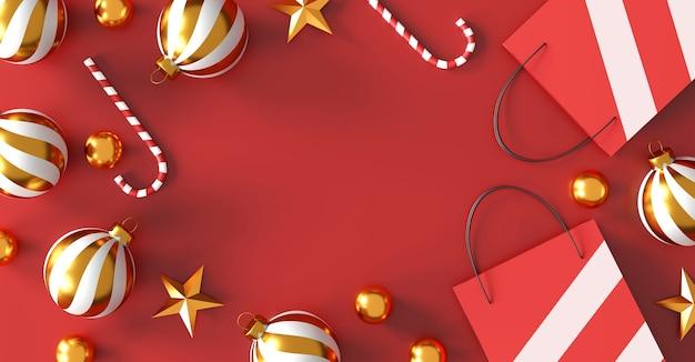 Веселого рождества и счастливого нового года концепции. красная хозяйственная сумка на красном фоне. продажа баннеров. 3d иллюстрация