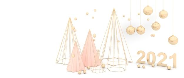 メリークリスマスと新年あけましておめでとうございますエレガントな白い背景ゴールデンクリスマスツリー輝くゴールデンボール。