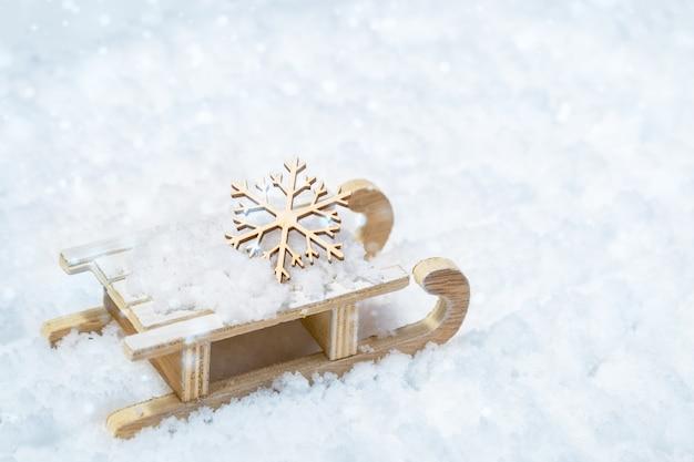 魔法のそりでメリークリスマスと幸せな新年のグリーティングカード