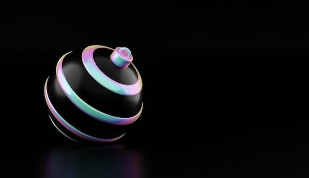 С рождеством и новым годом голографический шар на черном фоне. 3d-рендеринг глянцевого белого новогоднего шара в голографическом неоновом свете изолированы