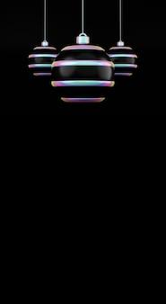 С рождеством и новым годом голографический шар на черном фоне. 3d-рендеринг глянцевого белого новогоднего шара в голографическом неоновом свете, висящий изолированно