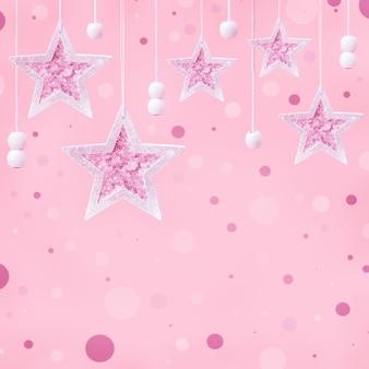 기쁜 성 탄과 새 해 복 많이 받으세요 파스텔 핑크 어린 시절 배경