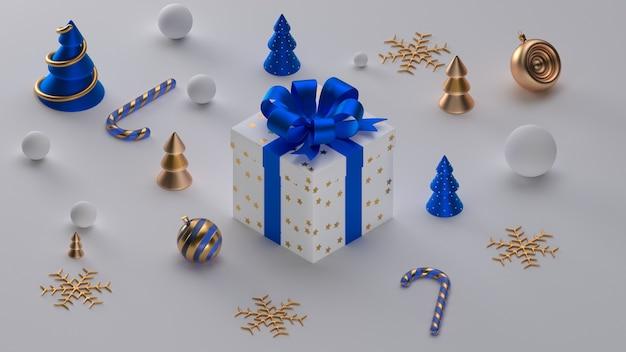 メリークリスマス、そしてハッピーニューイヤー。リアルなオブジェクトとクリスマスのお祝いの背景。構成形状のクリスマスツリー。休日の要素、3dレンダリング、リアリズム。グリーティングカード、バナー、ウェブポスター。