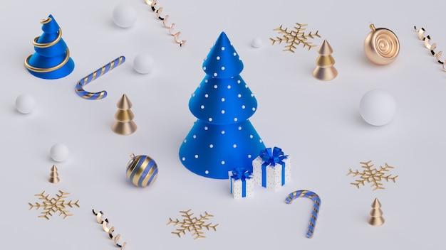 メリークリスマス、そしてハッピーニューイヤー。リアルなオブジェクトとクリスマスのお祝いの背景。休日の要素、3dレンダリング、リアリズム。グリーティングカード、バナー、ウェブポスター。