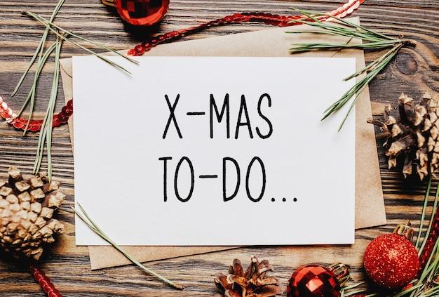 メリークリスマスとメリー新年のコンセプトノートとテキストx-masto-do