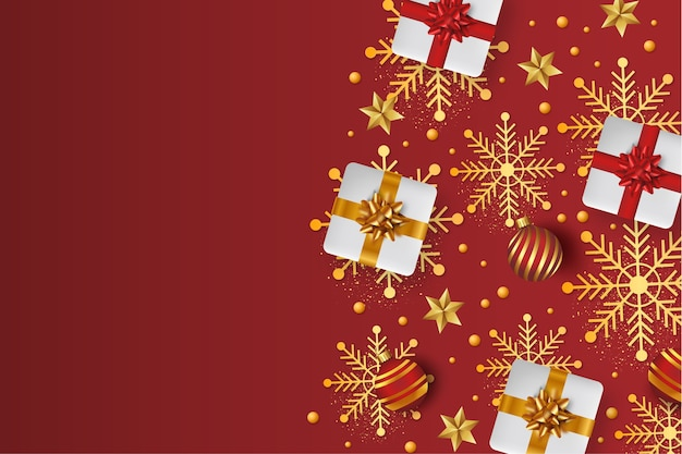 Merry christmas background with 3d gifts
