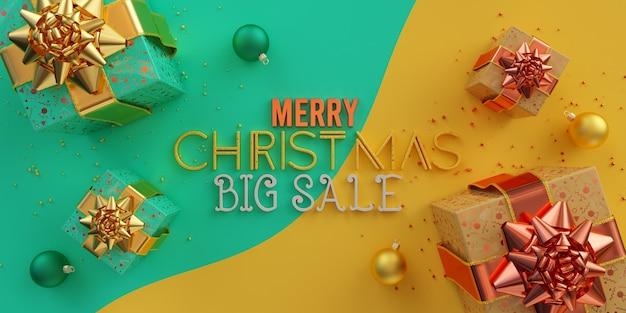 메리 크리스마스 큰 판매 그림 청록색과 노란색에 여러 선물 상자 공 및 장식 구성 프리미엄 사진