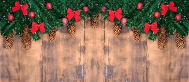Merry christmas card. winter holiday theme. happy new year. space for text. wooden background