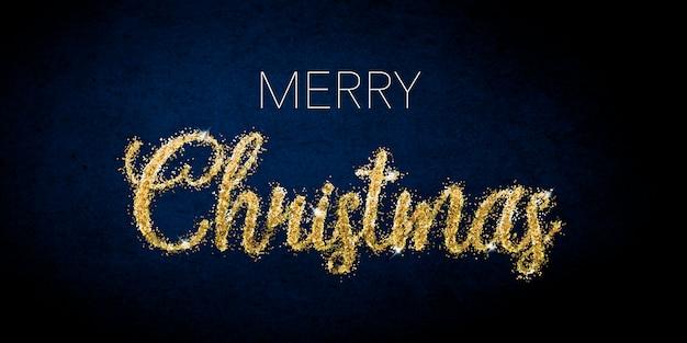 紺色の背景に金色のキラキラ文字でメリークリスマスのお祝い