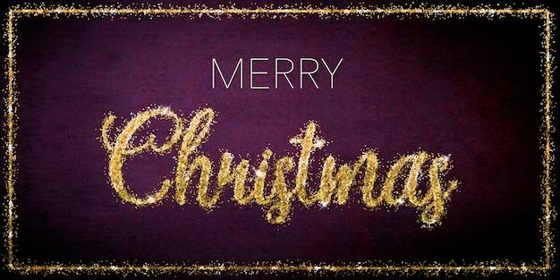 濃いピンクの背景に金色のキラキラ文字でメリークリスマスのお祝い