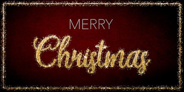 濃い赤の背景に金色のキラキラ文字でメリークリスマスのお祝い