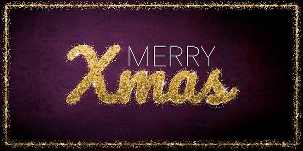 ピンクの背景に金色のキラキラ文字でメリークリスマスのお祝い
