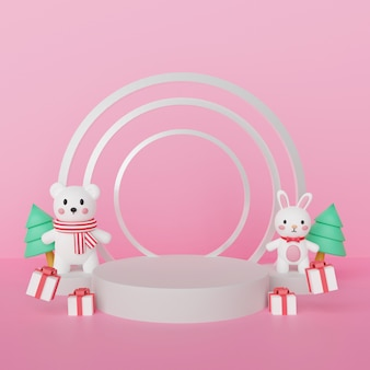 Merry christmas ,  christmas celebrations with polar bear and rabbit with podium for a product  . 3d rendering .